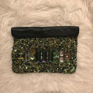 Sequin Bejeweled Clutch